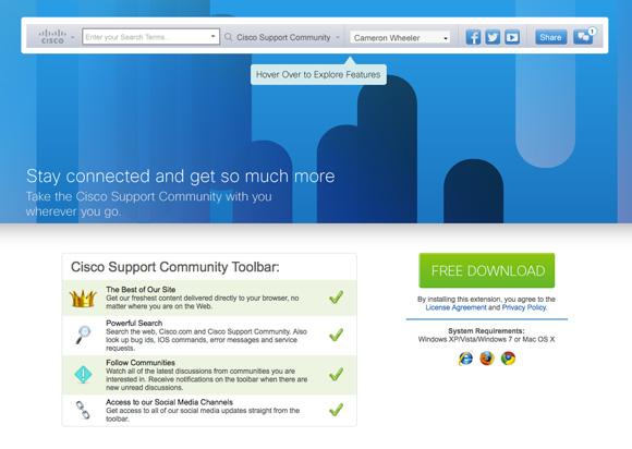 Nova barra de ferramentas da Comunidade de Suporte Cisco